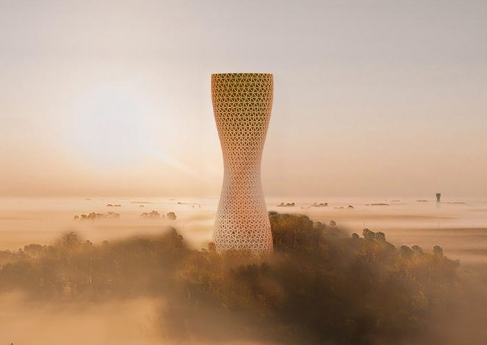 studio symbiosis tackles air pollution in india with proposed 'aura' cleaning tower